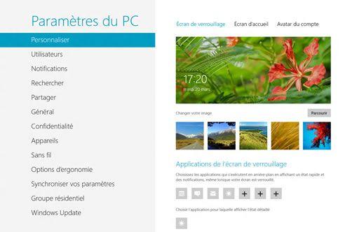Capture d'écran - Paramètres de l'Ecran de verrouillage de Windows 8