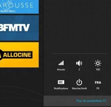 Capture d'écran - Menu d'accès rapide sous Windows 8