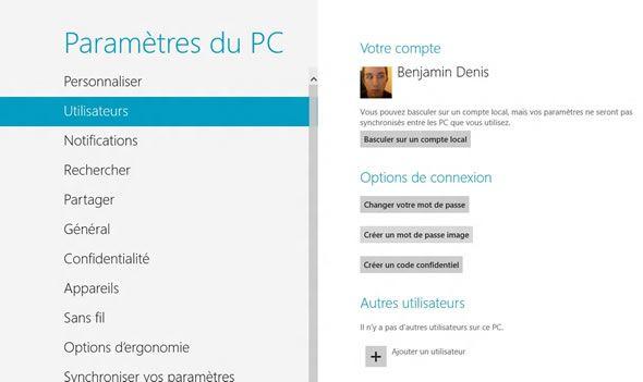 Capture d'écran - Options Utilisateurs de Windows 8