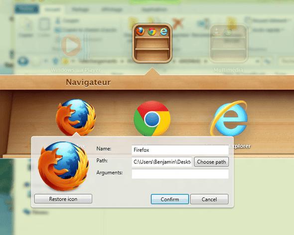 Capture d'écran - Modification d'une icône dans WinLaunch
