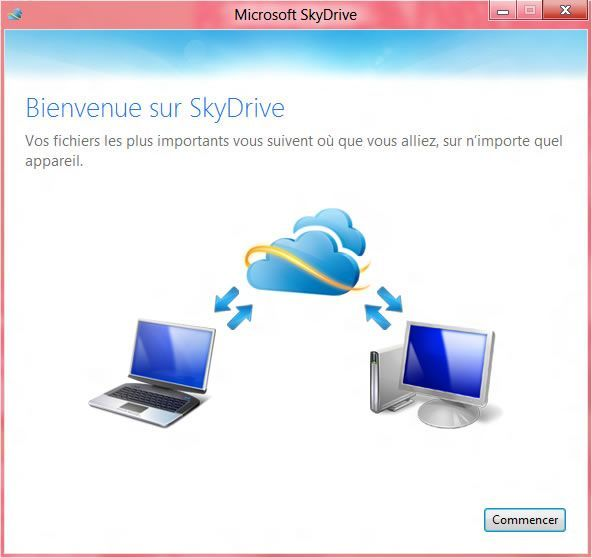Capture d'écran - Etape 1 de l'installation de SkyDrive sous Windows