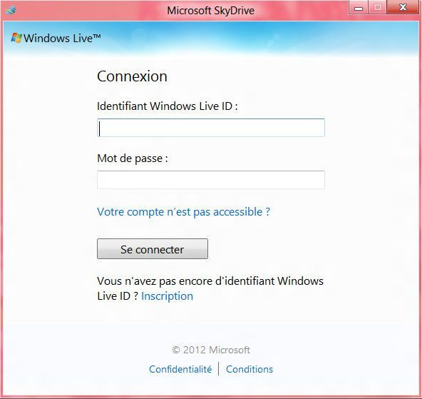 Capture d'écran - Etape 2 de l'installation de SkyDrive sous Windows