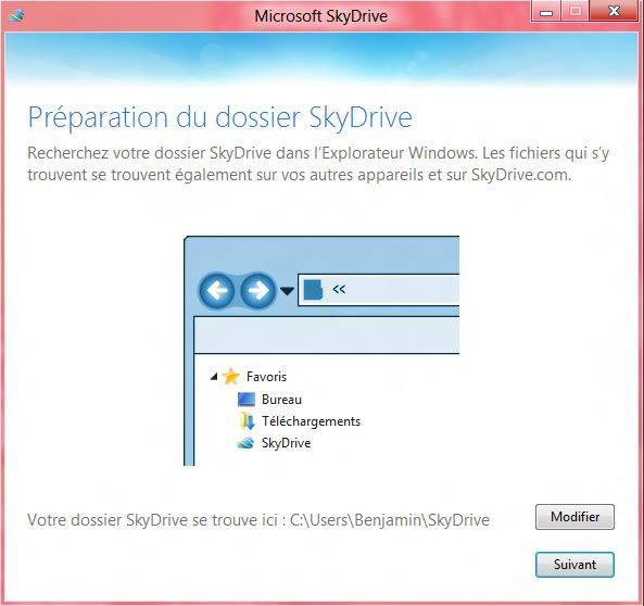 Capture d'écran - Etape3 de l'installation de SkyDrive sous Windows