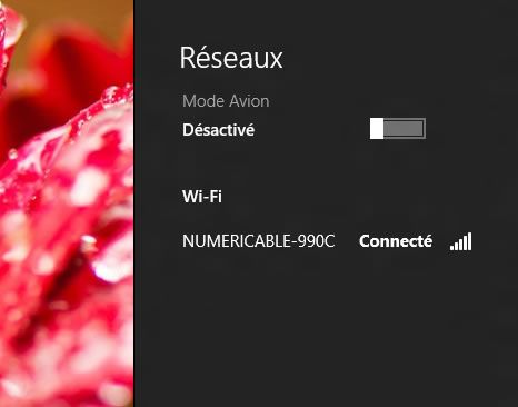 Capture d'écran - Liste des réseaux disponibles sous Windows 8