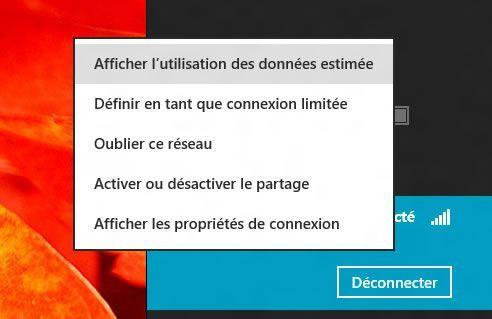 Capture d'écran - Menu contextuel, liste des réseaux sous Windows 8