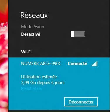 Capture d'écran - Affichage de l'utilisation des données estimée sous Windows 8