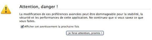 Capture d'écran - Avertissement about:config Firefox