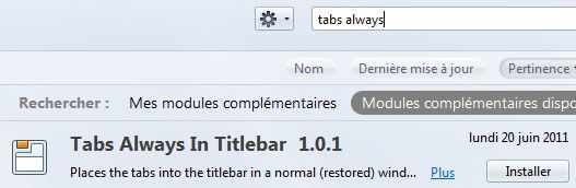 Capture d'écran - Installation du module Tabs Always In Titlebar