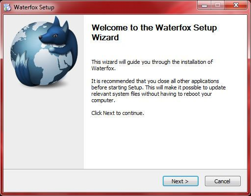 Capture d'écran - Etape 1 de l'installation de Waterfox