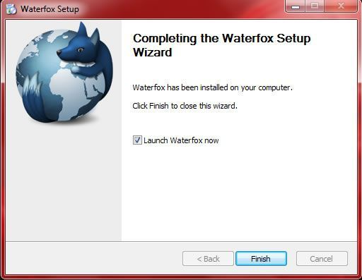 Capture d'écran - Fin de l'installation de Waterfox