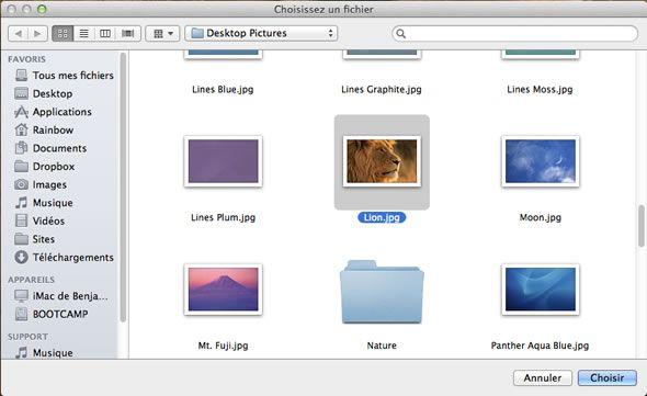 Capture d'écran - Choix de votre image de fond pour l'écran de connexion de MacOS X Lion