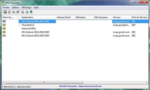 Capture d'écran - Mail PassView, fenêtre principale