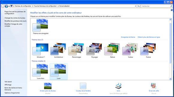 Capture d'écran - Fenêtre de personnalisation de Windows 7