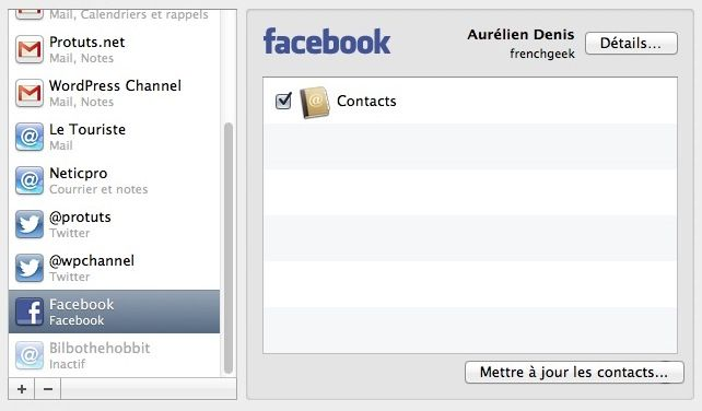 Capture d'écran - Facebook synchronisation des contacts sous Mac