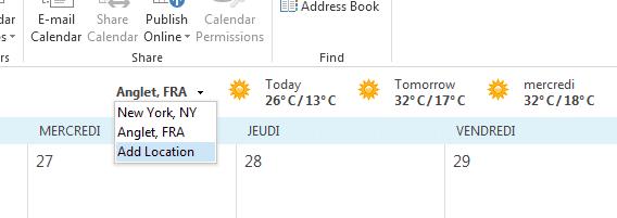 Capture d'écran - Ajouter une localisation pour la météo - Outlook 2013