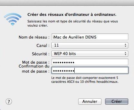 Capture d'écran - Configuration réseau adhoc Mac