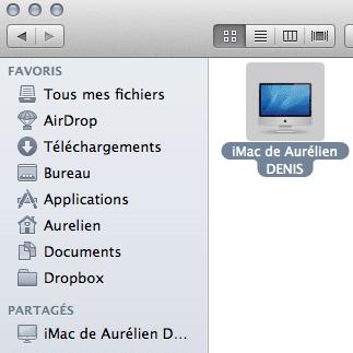 Capture d'écran - Connexion établie entre 2 Macs