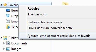 Capture d'écran - Ajout d'un dossier favori de l'explorateur Windows