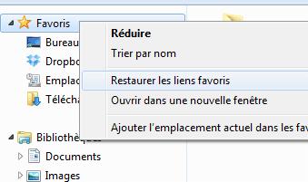 Capture d'écran - Restaurer les dossiers favoris de l'explorateur Windows