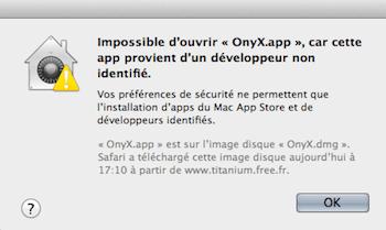 Capture d'écran - Onyx reconnue comme une application non identifiée par Apple