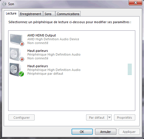 Capture d'écran - Propriétés du son sous Windows 7