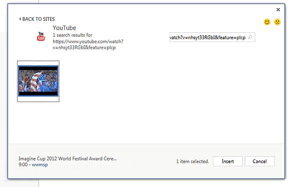 Capture d'écran - Choix de la vidéo YouTube à intégrer dans votre document Word 2013