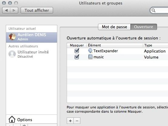 Capture d'écran - Choix des services à l'ouverture d'une session MacOS X