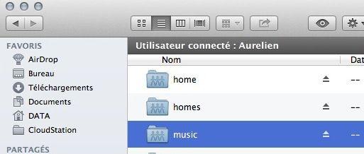 Capture d'écran - Accès au dossier music sur un NAS DS411