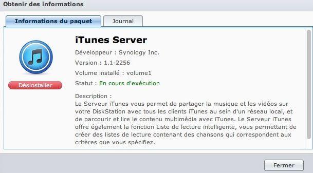 Capture d'écran - iTunes Server sous DSM 4.1