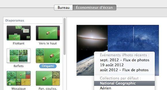 Capture d'écran - Choix de la source des photos de l'écran de veille sous MacOS X