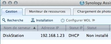 Capture d'écran - Détection du NAS sur le réseau