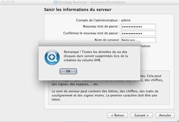 Capture d'écran - Procédure d'installation de DSM