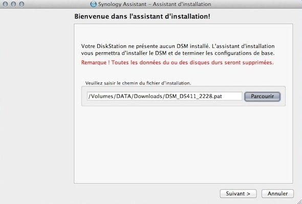 Capture d'écran - Emplacement de la dernière version de DSM
