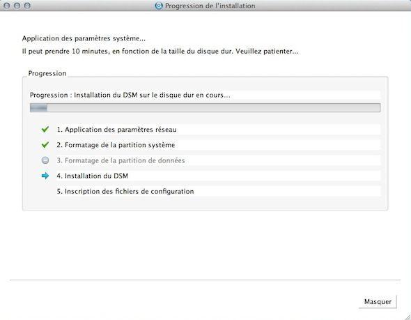 Capture d'écran - Installation en cours de DSM 4.1