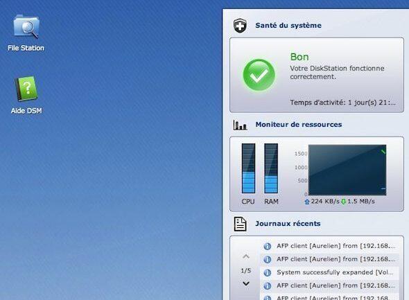 Capture d'écran - Ecran d'accueil de DSM 4.1