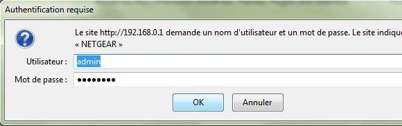 Capture d'écran - Connexion à l'admin du routeur Netgear Numericable