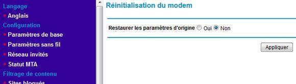 Capture d'écran - Réinitialisation du modem Netgear Numericable