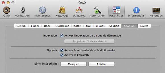 Capture d'écran - Paramètres de Spotlight via Onyx sous Mac OS X