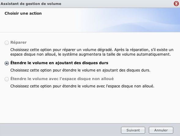 Capture d'écran - DSM 4.1, extension de volume SHR