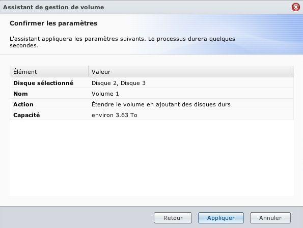 Capture d'écran - DSM 4.1, récapitulatif avant augmentation