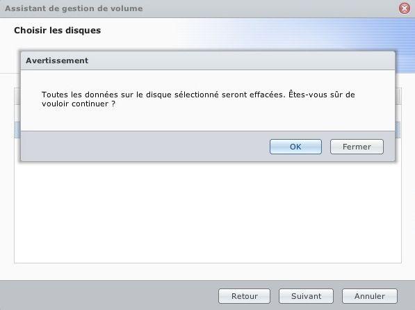 Capture d'écran - DSM 4.1, confirmation du formatage des disques