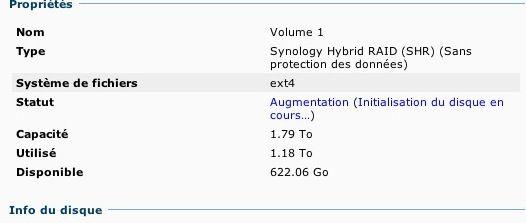 Capture d'écran - DSM 4.1, augmentation de volume en cours