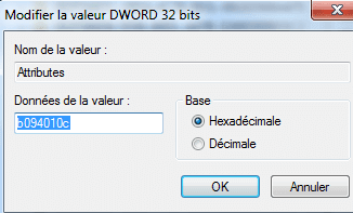 Capture d'écran - Modification de la valeur DWORD