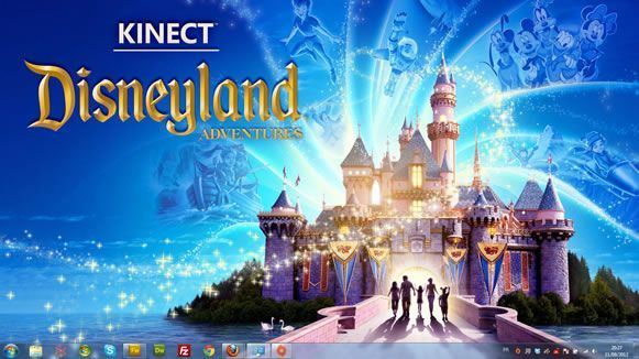 Capture d'écran - Kinect Adventures Disneyland, thème visuel officiel Windows 7