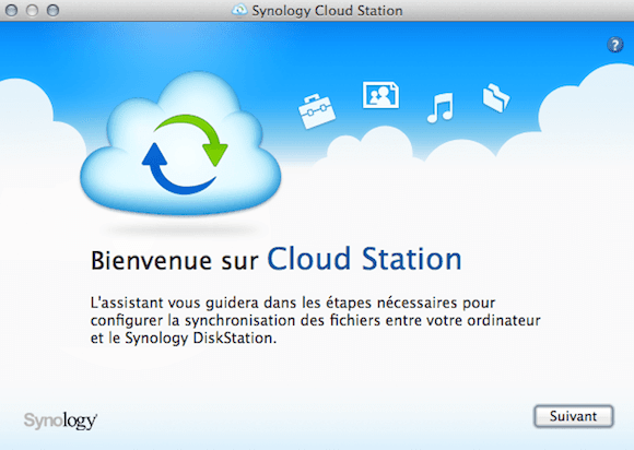 Capture d'écran - Lancement de l'assistant d'installation Cloud Station