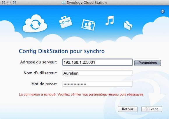 Capture d'écran - Configuration des accès au NAS