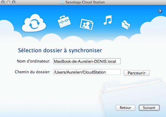 Capture d'écran - Choix de l'emplacement de stockage Cloud Station