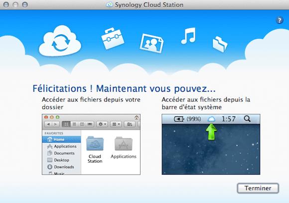 Capture d'écran - Fin de l'assistant Cloud Station