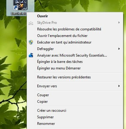 Capture d'écran - Menu contextuel d'un raccourci du bureau sous Windows 7