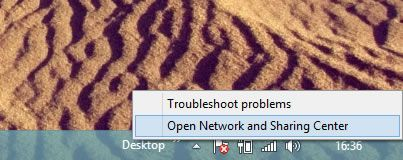 Capture d'écran - Raccourci pour accéder au Centre réseau et partage de Windows 8